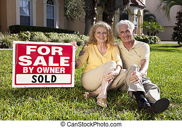 casa, vendido, sinal venda, proprietário, par velho