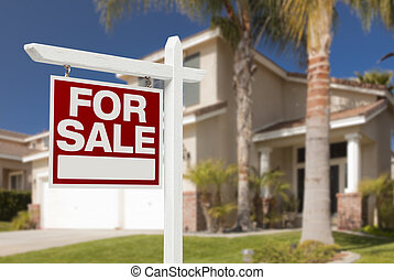 casa, vendita, segno, nuovo, fronte, casa