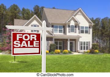 casa, vendita, segno proprietà reale, e, casa