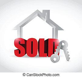 casa, venduto, concetto, disegno, illustrazione