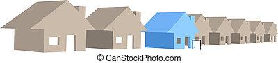 casa, venta, casas, calle, fila, 3d