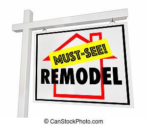 casa, venta, ilustración, señal, ver, hogar, elemento esencial, remodelar, 3d