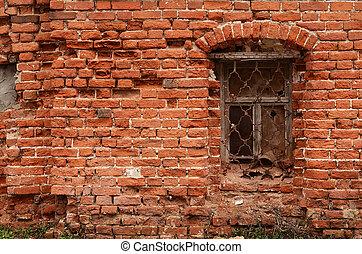 casa, ventana, viejo, ladrillo