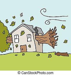 casa, ventoso, árbol, caer, día