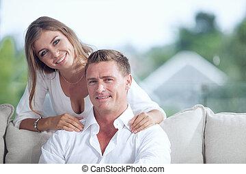 casa verão, par, jovem, meio ambiente, retrato, agradável