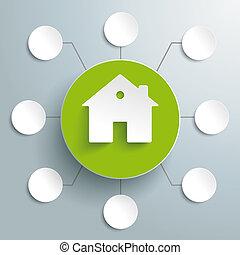 casa, verde, 8, cerchio, opzioni, piad