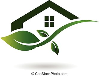 casa verde, affari, logotipo