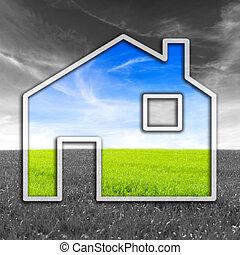 casa, verde, amistoso eco