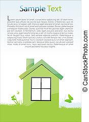 casa, verde, cartão