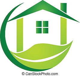 casa verde, con, hoja, diseño, logotipo