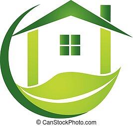 casa verde, con, hoja, empresa / negocio, vector, logotipo