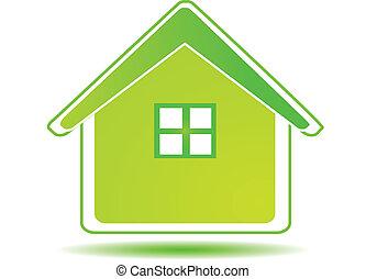 casa verde, -, ecologia, conceito, logotipo