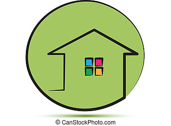 casa verde, em, um, apoplexia, linha, logotipo