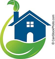 casa, verde, folheia, logotipo