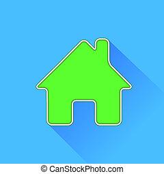 casa, verde, icona