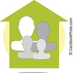 casa, verde, illustrazione, famiglia