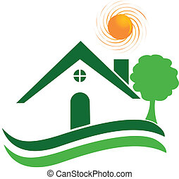 casa verde, logotipo, vetorial