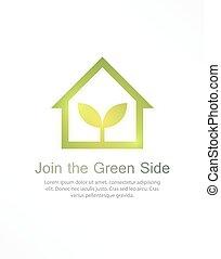 casa, verde, logotipo