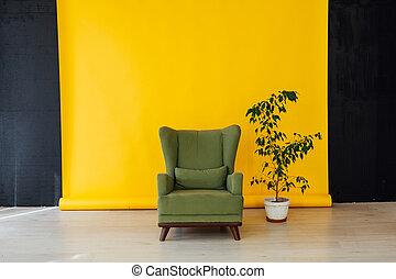 casa, verde, sfondo giallo, sedia, nero, pianta