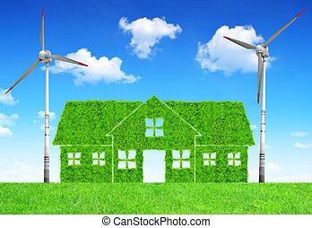 casa, verde, turbinas, viento
