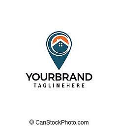 casa, vetorial, desenho, localização, modelo, logotipo, ícone