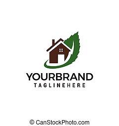 casa, vetorial, desenho, modelo, logotipo, verde, ícone