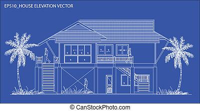 casa, vetorial, elevação