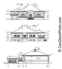 casa, vetorial, elevations.