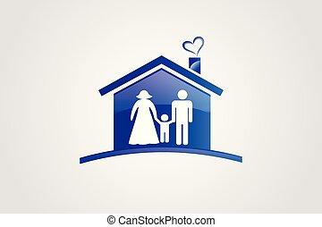 casa, vetorial, família, logotipo