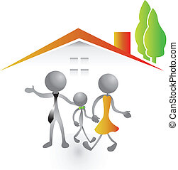 casa, vetorial, família nova, logotipo