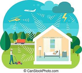 casa, vetorial, ilustração, soundproofing