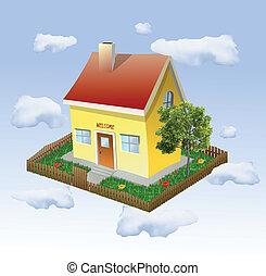 casa, vetorial, jardim, clouds.