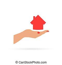 casa, vetorial, mão