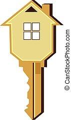 casa, vettore, disegno, chiave, logotipo