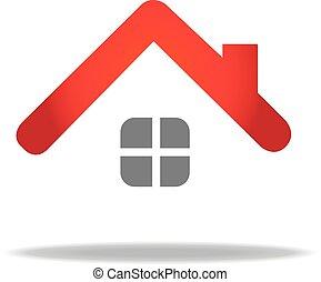 casa, vettore, disegno, sagoma, logotipo