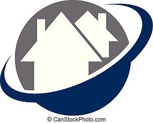 casa, vettore, disegno, sagoma, swoosh, logotipo