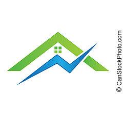casa, vettore, elettrico, logotipo