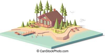 casa, vettore, foresta, poly, basso