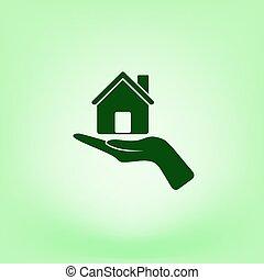 casa, vettore, icona, mano