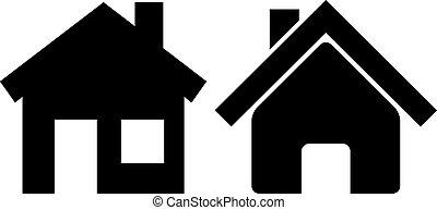 casa, vettore, icone