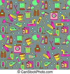 casa, vettore, pattern., pulizia, seamless
