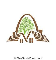 casa, vettore, reale, idea, proprietà, appartamento, realty, logotipo, casa, disegno, concetto