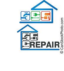casa, vettore, riparazione