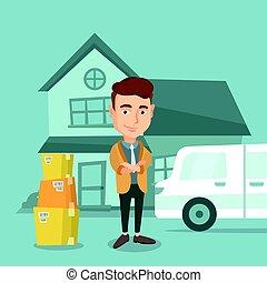 casa, vettore, spostamento, illustration., uomo