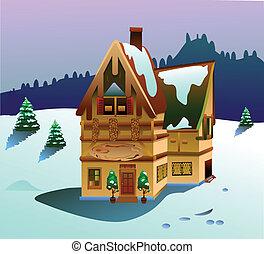 casa, vettore, tempo inverno
