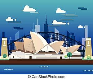 casa, viajar, sidney, ópera, puente