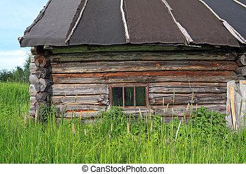casa, viejo, abandonado, aldea