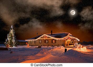casa, vila, natal, noturna