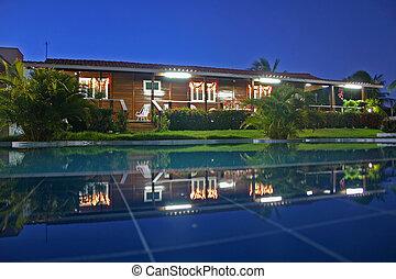 casa, vista, piscina, noche