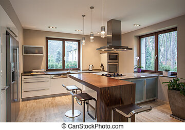 casa, vista, -, travertine, cocina